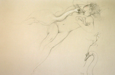 Leda Mixed media Original oil and pencil on paperboard Year: 1991 size: 31 x 21 inch Signed: Parkes Art work nr P204 Sold